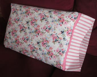 Pillowcase - Pink Roses, Floral Bouquets, Pink Stripes and Polka Dots. Fits Standard Size Pillows. Beautiful Gift for Any Age.