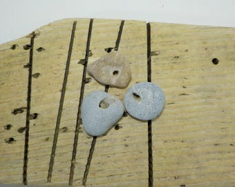 "3 Naturally Holed Beach Stones 1.3-1.4""  Hag Stones - Pebbles with natural hole  - Decorative Beach Finds - Odin Stone Talismans #89"
