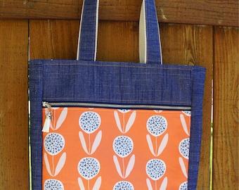 Orange floral and denim tote, medium tote