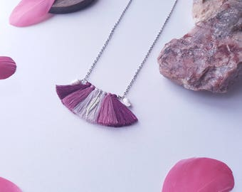 Tassels necklace, long necklace pink red gray, shells, bohemian necklace silver necklace