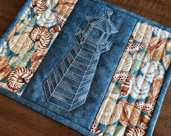 mug rug, seashells, lighthouse, mug mat, snack mat, candle mat, Item #234