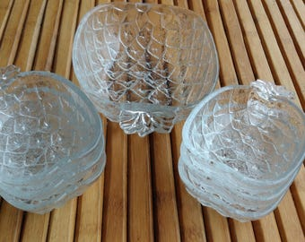 Salad bowl and cups ANANAS - dessert service - compote service - VINTAGE - Bohemian -