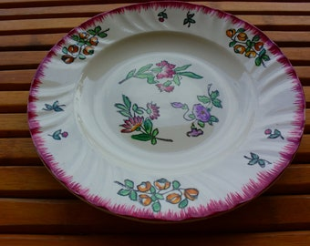 Plates LONGWY - old plates - plates flowers- Made in France - vintage-