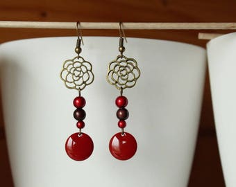Red and Brown magic beads and sequin earrings