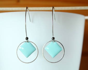 Blue Square sequin ring and Mint earrings