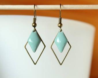 Sky Blue diamond and diamond bronze sequin enamel earrings