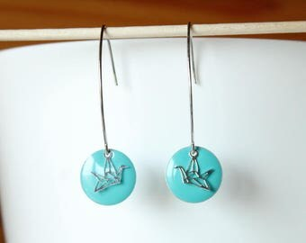 Elegant sequin blue green enamel and silver origami bird earring