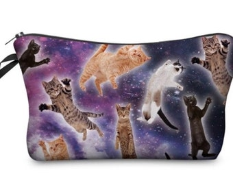Kitty Cat Galaxy Makeup Brush Holder-Makeup Organizer-Gift for Her-Makeup Bag-Makeup Storage-Large Makeup Bag-Makeup Travel Bag-Makeup Case