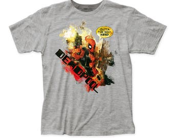 Deadpool Outta The Way Men's Soft Fitted 30/1 Cotton Tee (DEAD05) Heather Grey