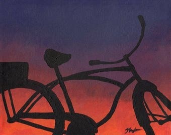 Original Bicycle Art, Bicycle Art Decor, Gifts for Cyclist, Beach Cruiser, Vintage Bike Painting, Bicycle Wall Art, Beachouse Decor