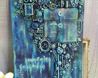 Decorative canvas: Steampunk, messengers of time - can be used as door photo