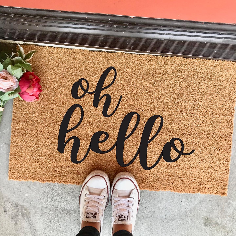 Oh Hello Doormat 18x30 Script Font Calligraphy