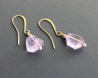 Pink Amethyst drop earrings, 14k gold and Amethyst earrings, Violet earrings, Purple earrings, Amethyst jewelry, Amethyst nugget