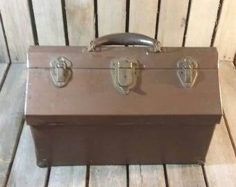 Antique Tool Box, Antique Kennedy Toolbox, Metal Tool Box, Old Tool Box, Vintage Brown Kennedy Tool Box, Kennedy Tool Box Leather Handle