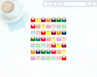 49 Small Multi-Coloured Bright & Pastel Happy Mail Envelope Stickers