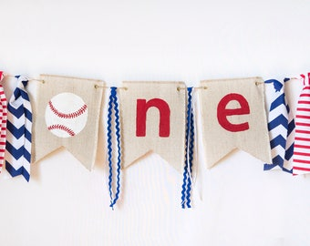 Baseball Birthday High Chair Banner - Baseball Theme Photo Prop - Boy 1st Birthday - Party Supplies - One Banner - Birthday Party Ideas
