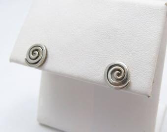 Vintage Sterling Silver Simple Sprial Stud Earrings