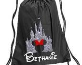 Minnie Castle Personalized bag, Minnie Backpack, Disney Trip Kids backpack, Family Vacation  Minnie, Minnie  Cinch Bag