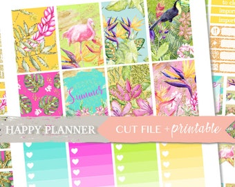TROPICAL PLANNER STICKERS, Happy Planner weekly kits, happy planner stickers sale, Summer planner, printable weekly, tropical stickers