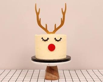 Christmas Reindeer Cake Topper Set