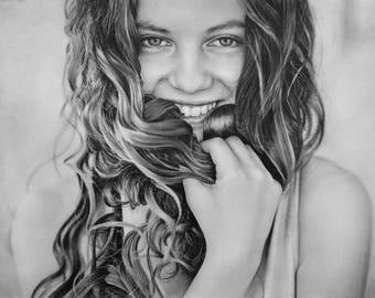 custom portrait from photo, custom portrait, personalized portrait, portrait from photo, pencil portrait, pencil drawing, custom art