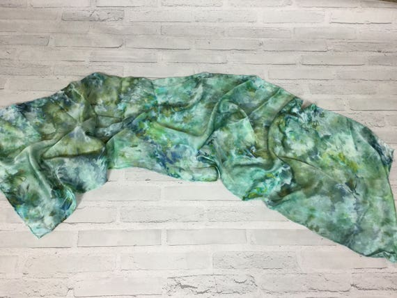 """100% Silk Scarf Ice Dyed in Beautiful Greens Artistic Watercolor Office Scarves 15""""x60"""" Oblong Rectangle Coworker Gift #151"""