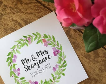Mr and Mrs, watercolour, print, handmade. wedding, gift.