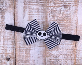 Halloween Headband, Skeleton Headband, Jack Skellington Inspired, White & Black Headband, Girls Halloween Headband, Halloween Hair Clip