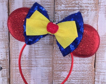 Snow White Inspired Minnie Ears, Minnie Mouse Ears, Snow White Inspired Headband, Girls Birthday Headband, Bachelorette Party