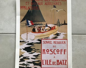 Vintage French Poster for boats ROSCOFF 17011812