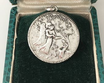 Ave Maria, Annunciation, Blessed Virgin Mary, Angel Saint Gabriel Sterling Silver French Vintage Hallmarked
