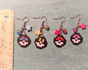 Pixel Pokeball Earrings