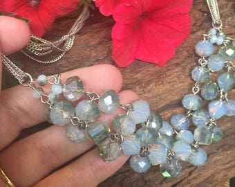 Vintage Style Tripple Stranded Faceted Necklace - Spectacular Piece