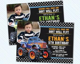 Digital Printable Monster Truck Birthday Invitation.Boy birthday