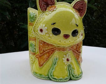 Vintage Kitty Cat Planter Stamped on the underside H6818 Yellow Green  Cat Planter 1960's or 1970's Planter Hippie Style Planter