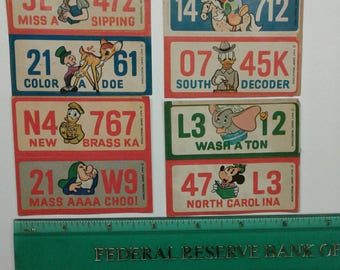Vintage Mickey Mouse License Plate Stickers