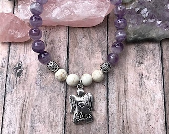 Amethyst, and Agate Bracelet with Angel Love Charm