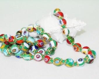 Necklace, neck jewellery, Murano beads, Millefiori beads, coloured beads, 61 cm long