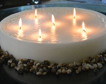 Custom hand poured 15 inch round candle with multi wicks