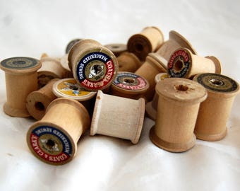 Set of ten vintage wooden thread spools