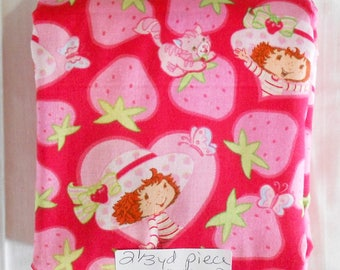 Fabric - 2.34yd piece - Strawberry Shortcake circa 2003/strawberries/Custard-kitty cat/butterfly/red/pink/hearts/red background (#1089)