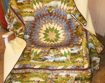"Horse Quilt-Radiant Star- Queen/King - Running Horse Scenic/wild horses/mustang/Vibrant Rock/Grass Prints 87"" x 88"""