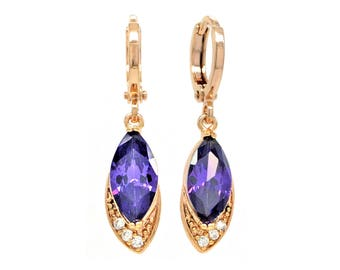Authentic rose gold plated purple marquise earrings, marquise purple gem, deep purple gold, drop dangle, black gift box purple jewelry bag