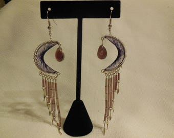 Purple Peruvian Crescent Moon Thread Earrings