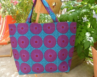 Large tote bag in wax from Burkina Faso and recycled rice sack