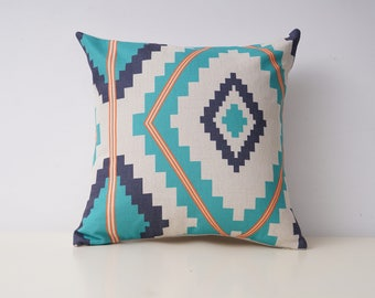 Aztec decorative pillow covers Ethnic throw pillow covers Navajo pillow cases Tribal pillow case Blue cushion cover Sofa home decor 18x18