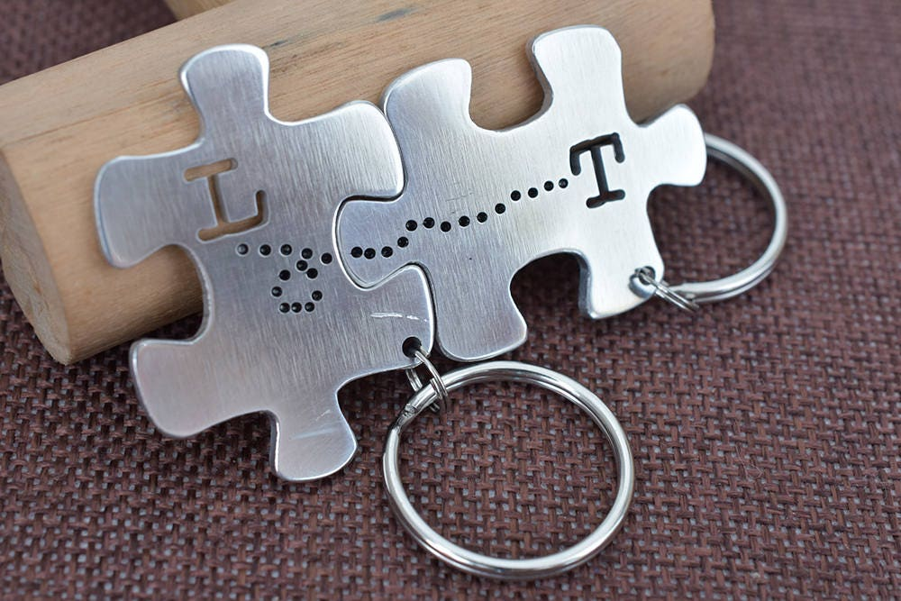 couples keychain puzzle piece keychain cute keychains matching