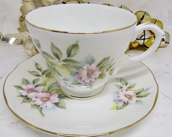 Duchess Pink Floral Tea Cup and Saucer, Bone China