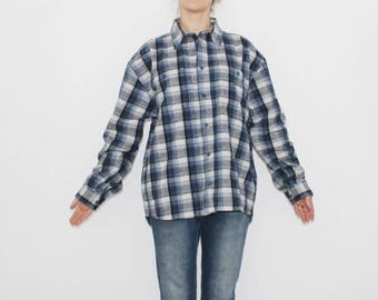 PLAID Flannel Shirt Blue Grey Whhite 80s Grunge Blue Black White Button Down Distressed Long Sleeve Women Men Oversized XL Blend Grunge