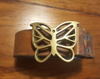 Vintage 60s - 70s HIPPIE Brown Leather Belt with Solid Brass BUTTERFLY Buckle Boho Small